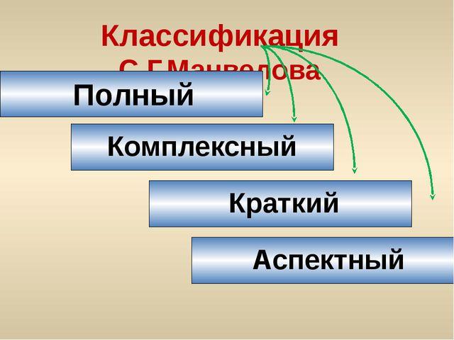 Классификация С.Г.Манвелова Полный Комплексный Краткий Аспектный