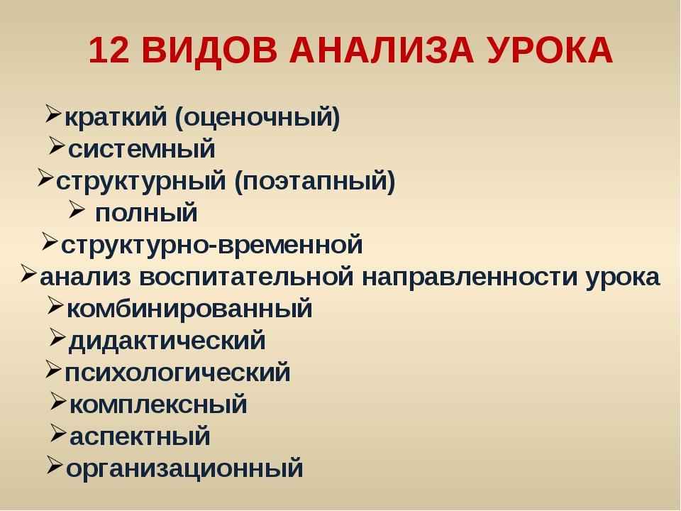 12 ВИДОВ АНАЛИЗА УРОКА краткий (оценочный) системный структурный (поэтапный)...