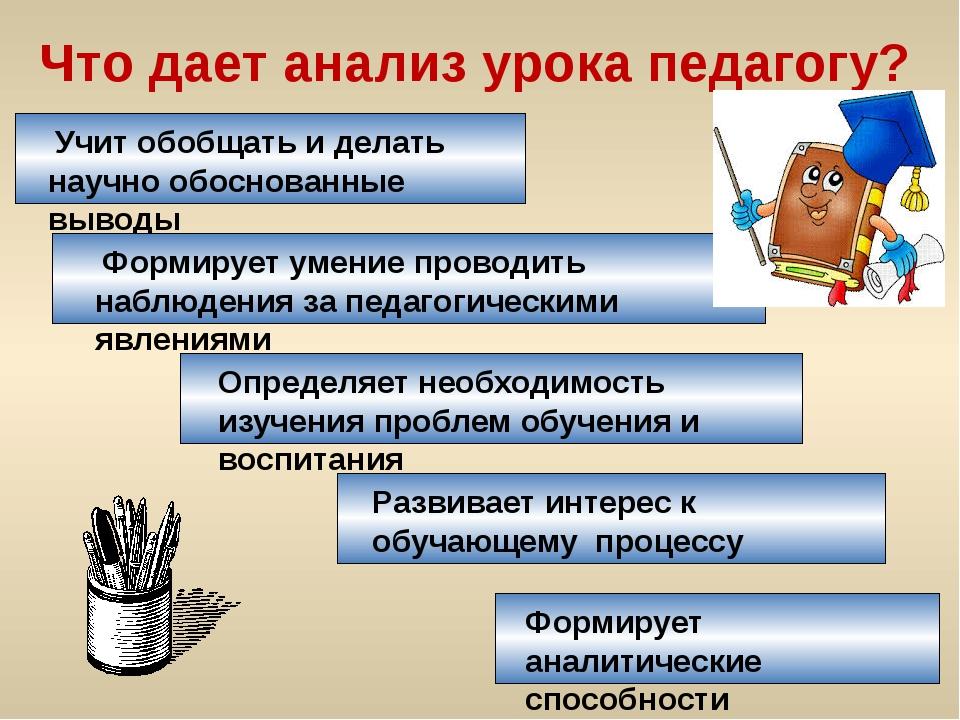 Что дает анализ урока педагогу? Учит обобщать и делать научно обоснованные вы...