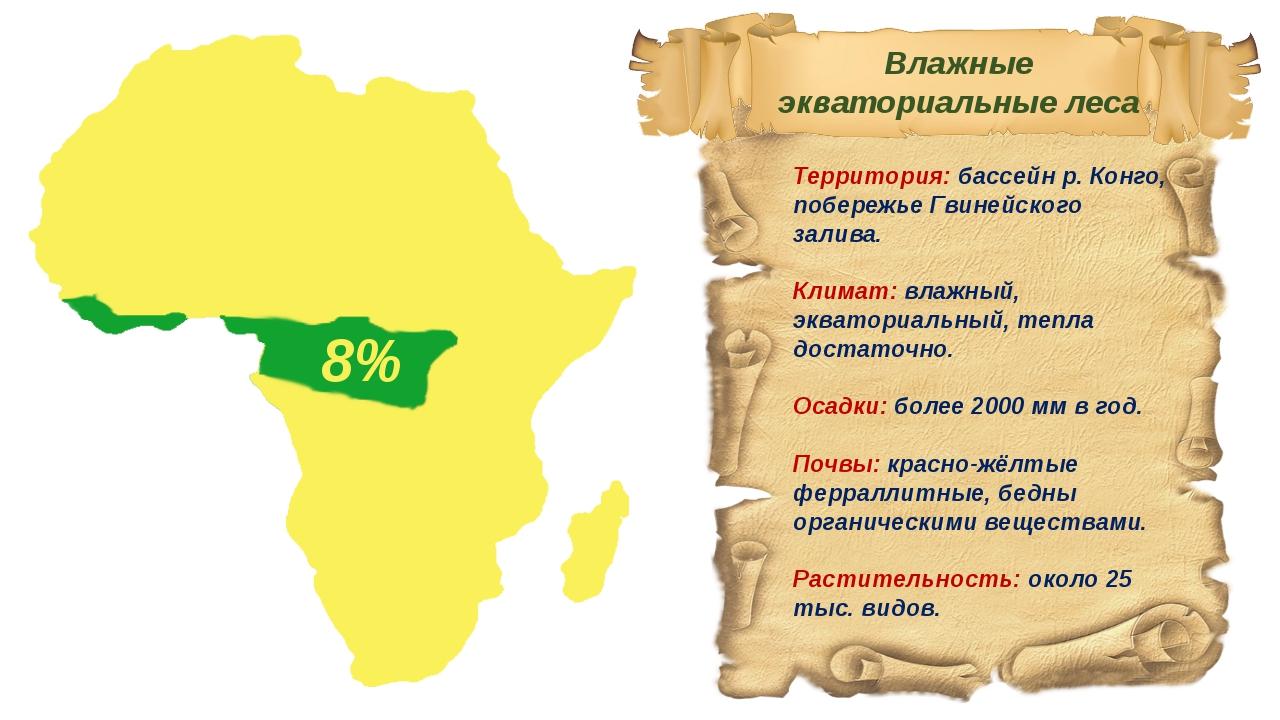 Территория: бассейн р. Конго, побережье Гвинейского залива. Климат: влажный,...