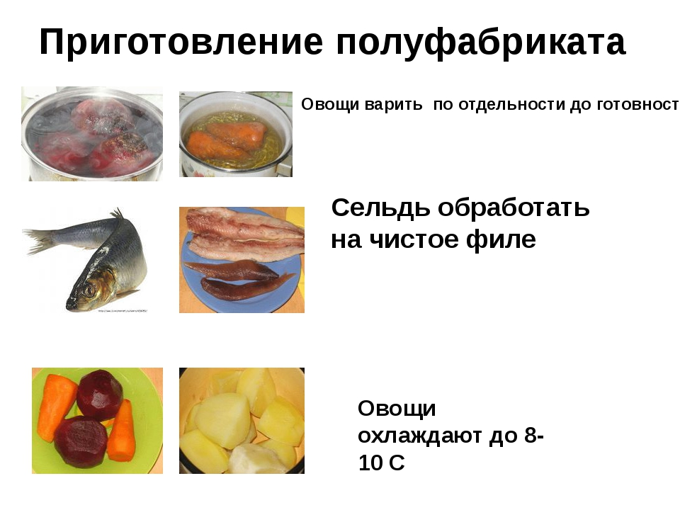 Приготовление полуфабриката Овощи варить по отдельности до готовности Сельдь...