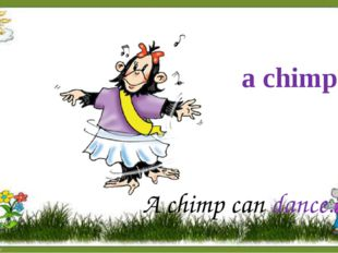 a chimp A chimp can dance.