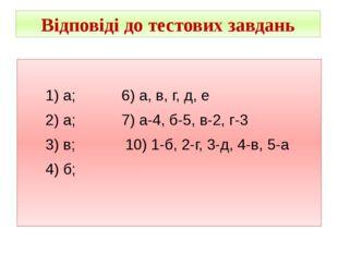 Відповіді до тестових завдань 1) а; 6) а, в, г, д, е 2) а; 7) а-4, б-5, в-2,