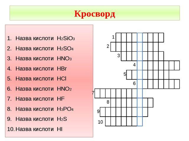 Кросворд Назва кислоти H2SiO3 Назва кислоти H2SO4 Назва кислоти HNO3 Назва ки...