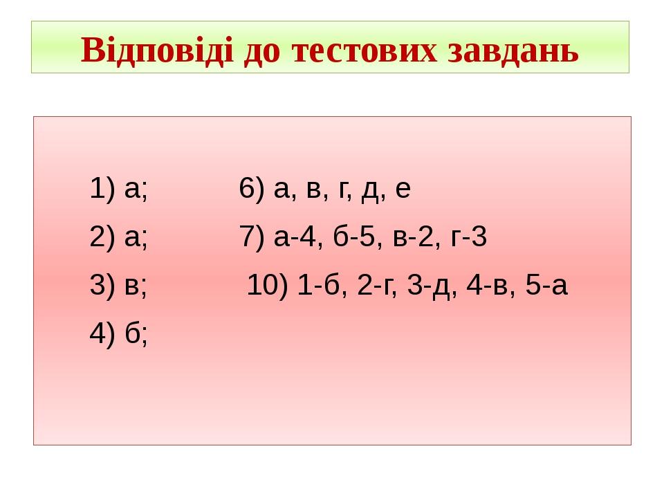 Відповіді до тестових завдань 1) а; 6) а, в, г, д, е 2) а; 7) а-4, б-5, в-2,...