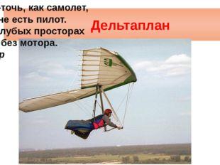 Дельтаплан Точь-в-точь, как самолет, В кабине есть пилот. Но в голубых прос