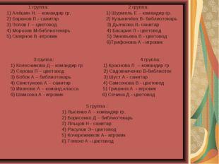 1 группа: 2 группа: 1) Алёшин Н. – командир гр. 1) Шурмель Е – командир гр.