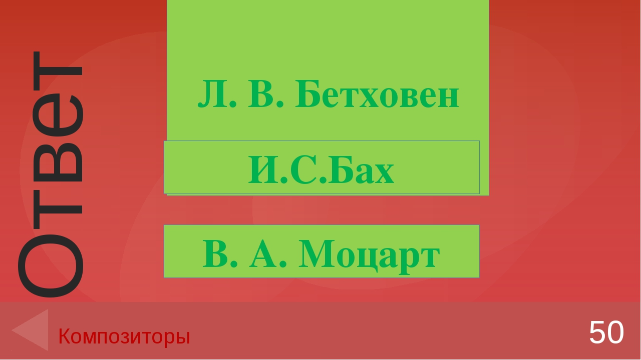 Л. В. Бетховен 50 Композиторы И.С.Бах В. А. Моцарт Ответ Введите вместо запол...
