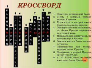 КРОССВОРД Писатель, сочиняющий басни Город, с которым связано детство Крылова