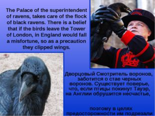The Palace of the superintendent of ravens, takes care of the flock of black