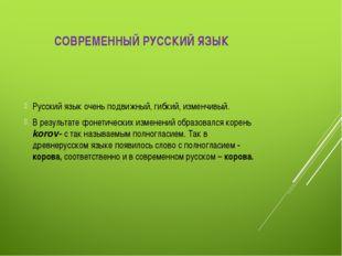 СОВРЕМЕННЫЙ РУССКИЙ ЯЗЫК Русский язык очень подвижный, гибкий, изменчивый. В