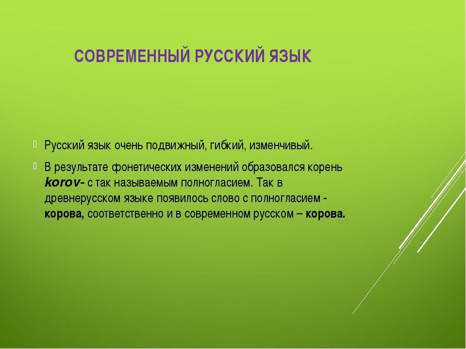 СОВРЕМЕННЫЙ РУССКИЙ ЯЗЫК Русский язык очень подвижный, гибкий, изменчивый. В...