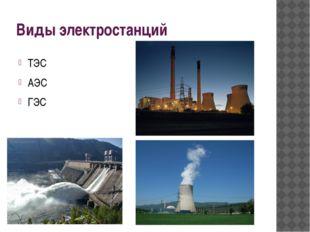 Виды электростанций ТЭС АЭС ГЭС