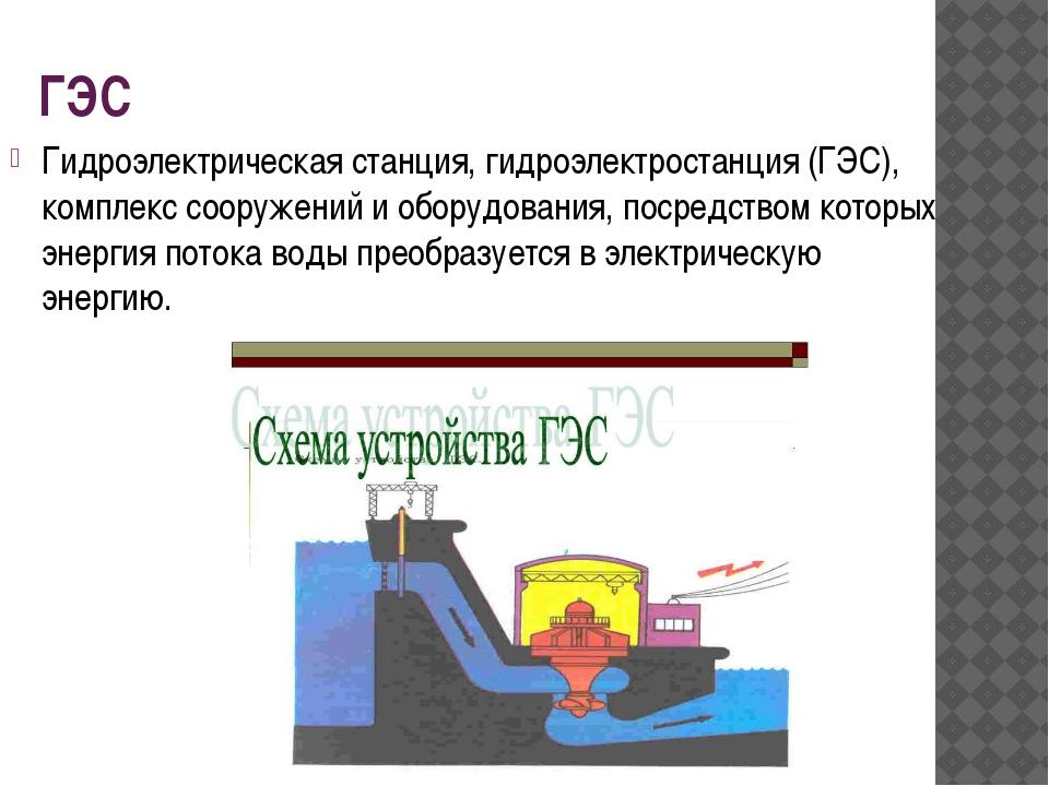 ГЭС Гидроэлектрическая станция, гидроэлектростанция (ГЭС), комплекс сооружени...