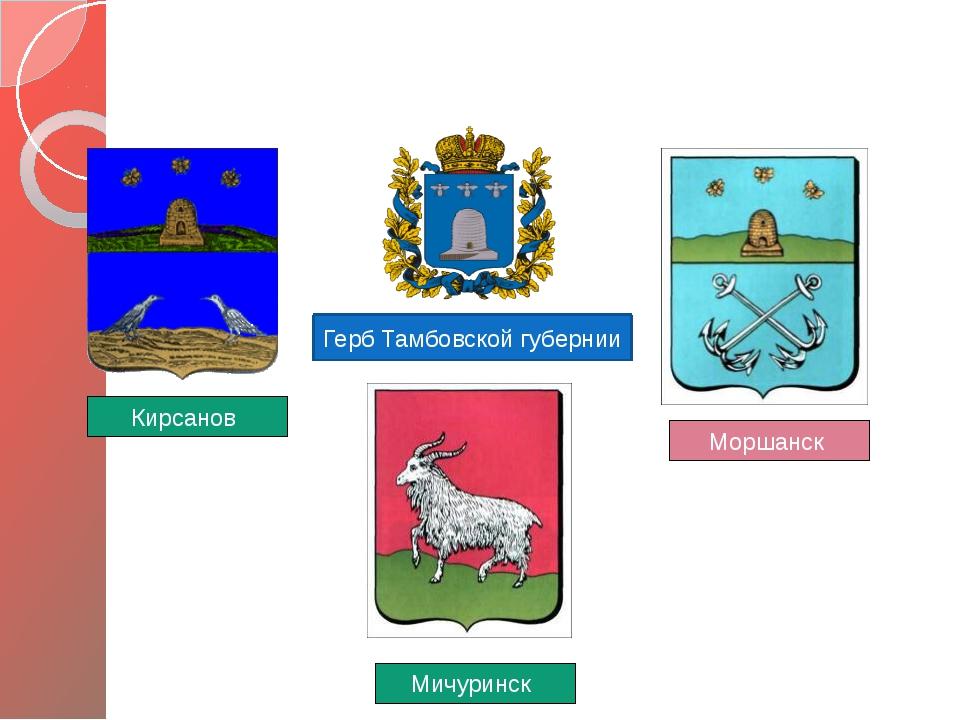 ГЕРБЫ ГОРОДОВ ТАМБОВЩИНЫ Герб Тамбовской губернии Мичуринск Моршанск Кирсанов