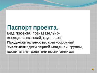 Паспорт проекта. Вид проекта: познавательно-исследовательский, групповой. П