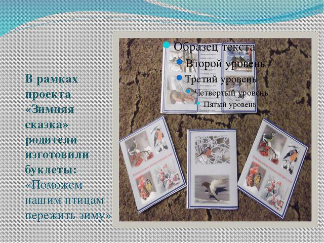 В рамках проекта «Зимняя сказка» родители изготовили буклеты: «Поможем нашим...