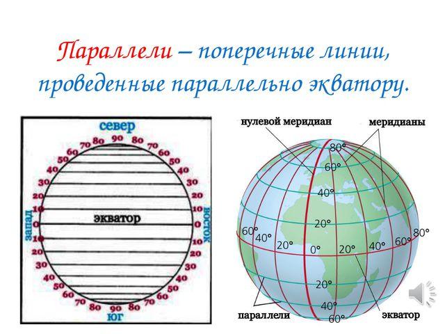 Параллели – поперечные линии, проведенные параллельно экватору.
