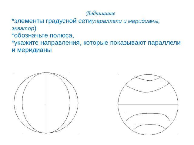 Подпишите *элементы градусной сети(параллели и меридианы, экватор) *обозначь...