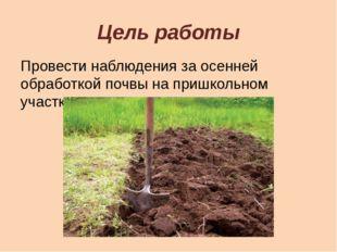 Цель работы Провести наблюдения за осенней обработкой почвы на пришкольном уч