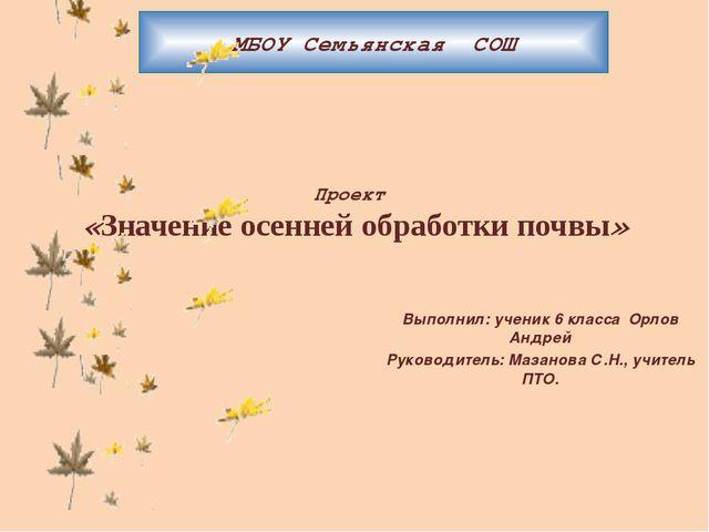 Проект «Значение осенней обработки почвы» Выполнил: ученик 6 класса Орлов Анд...