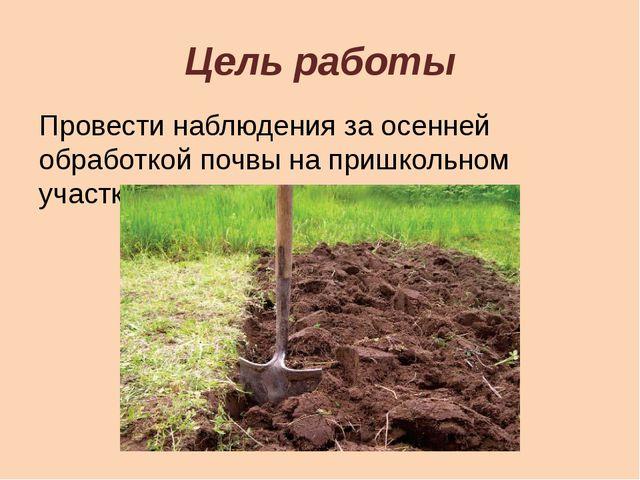 Цель работы Провести наблюдения за осенней обработкой почвы на пришкольном уч...
