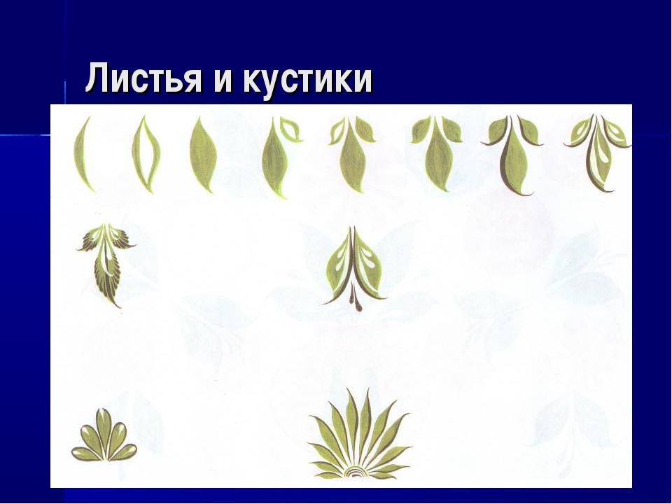 Листья и кустики