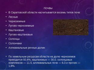 ПОЧВЫ В Саратовской области насчитывается восемь типов почв: Лесные Чернозем