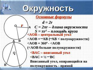 Окружность Основные формулы d = 2r C = 2πr – длина окружности S = πr2 – площа