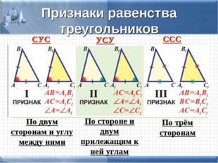 Признаки равенства треугольников СУС УСУ ССС По двум сторонам и углу между ни