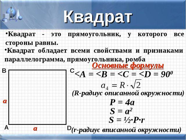 Квадрат - это прямоугольник, у которого все стороны равны. а а Квадрат Квадра...