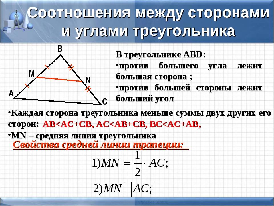 С В А Соотношения между сторонами и углами треугольника В треугольнике АВD: п...