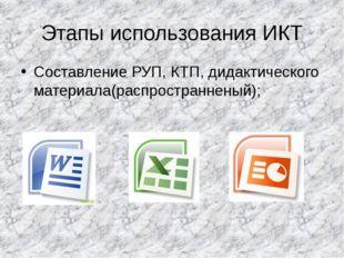 Этапы использования ИКТ Составление РУП, КТП, дидактического материала(распро