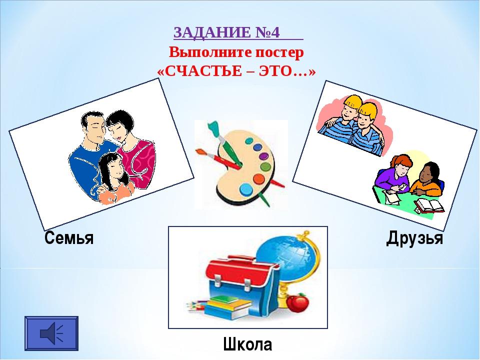 ЗАДАНИЕ №4 Выполните постер «СЧАСТЬЕ – ЭТО…» Семья Друзья Школа