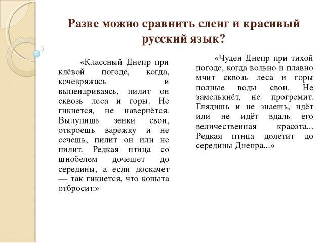 Разве можно сравнить сленг и красивый русский язык? «Классный Днепр при клёво...