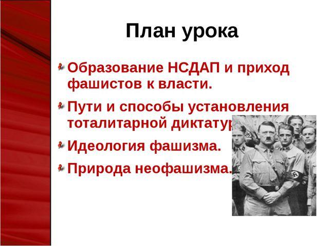 План урока Образование НСДАП и приход фашистов к власти. Пути и способы устан...