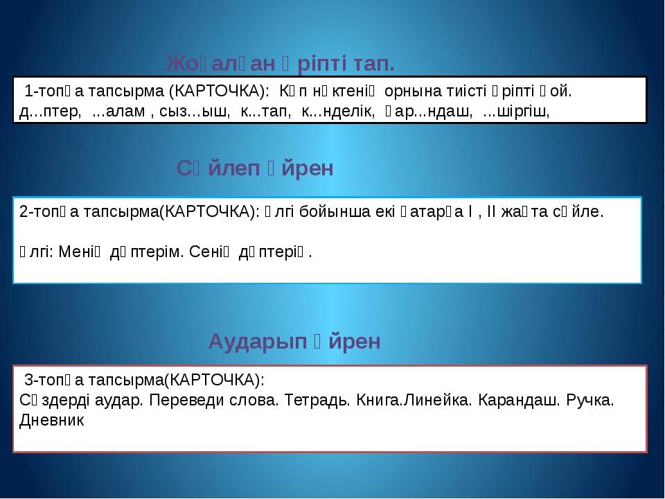 1-топқа тапсырма (КАРТОЧКА): Көп нүктенің орнына тиісті әріпті қой. д...пте...
