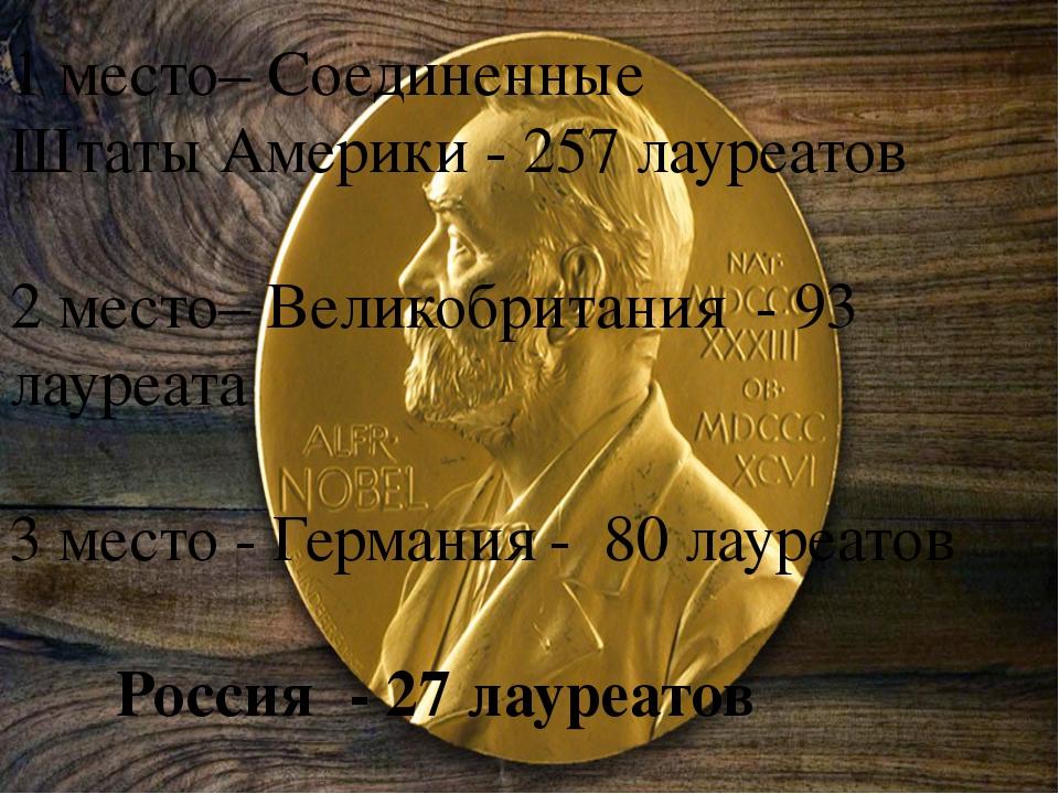 1 место– Соединенные Штаты Америки - 257 лауреатов 2 место– Великобритания -...