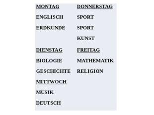 MONTAG ENGLISCH ERDKUNDE DONNERSTAG SPORT SPORT KUNST DIENSTAG BIOLOGIE GESCH