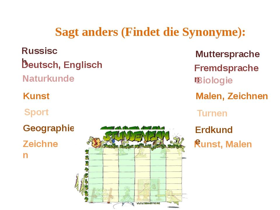 Sagt anders (Findet die Synonyme): Russisch Deutsch, Englisch Naturkunde Kuns...