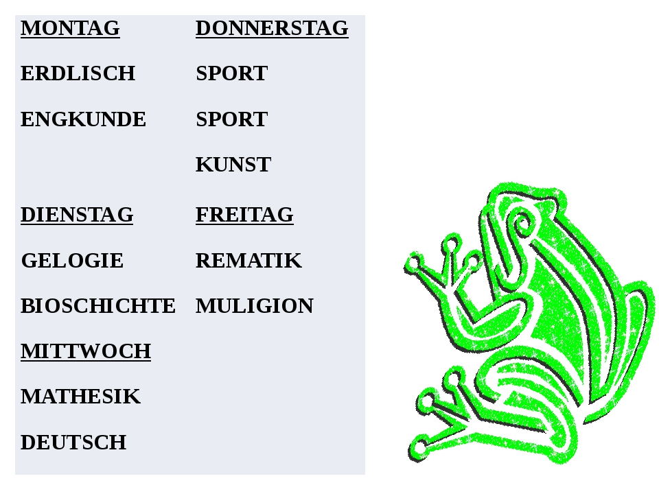MONTAG ERDLISCH ENGKUNDE DONNERSTAG SPORT SPORT KUNST DIENSTAG GELOGIE BIOSC...