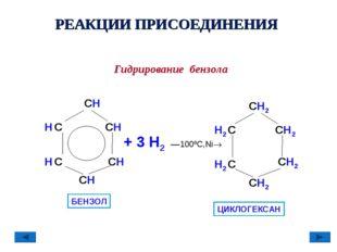 РЕАКЦИИ ПРИСОЕДИНЕНИЯ Гидрирование бензола СH СH СH H С H С СH +3 H2––100º