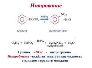 Нитрование Группа –NO2 - нитрогруппа Нитробензол –тяжёлая желтоватая жидкость