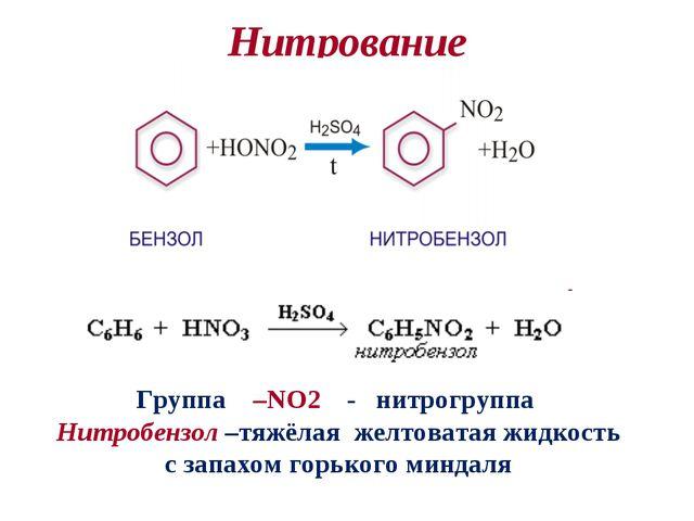 Нитрование Группа –NO2 - нитрогруппа Нитробензол –тяжёлая желтоватая жидкость...