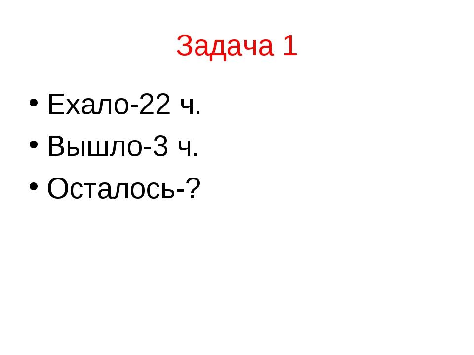 Задача 1 Ехало-22 ч. Вышло-3 ч. Осталось-?
