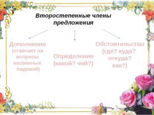 Второстепенные члены предложения  Дополнение (отвечает на вопросы косвенн