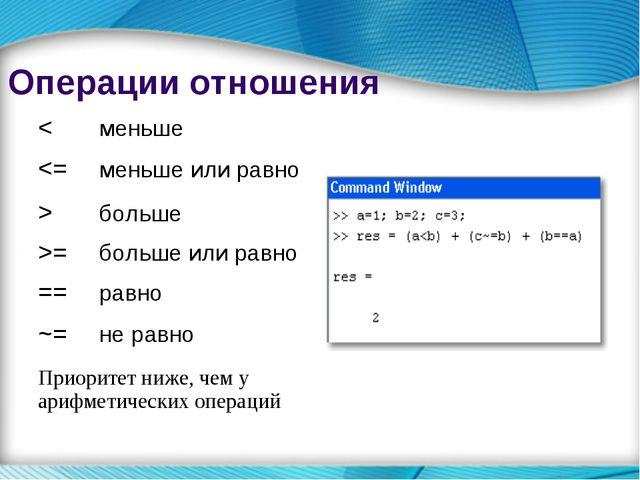 Операции отношения <меньше больше >=больше или равно ==равно ~=не равно...