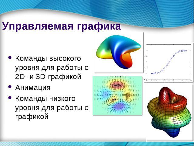 * Управляемая графика Команды высокого уровня для работы с 2D- и 3D-графикой...