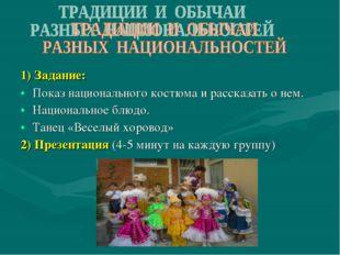 1) Задание: Показ национального костюма и рассказать о нем. Национальное блюд