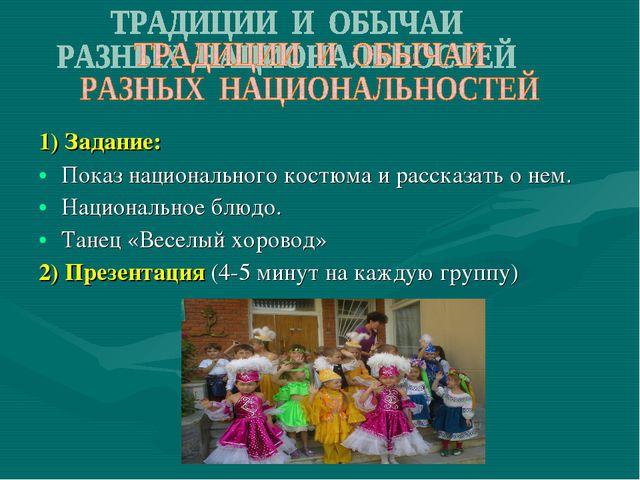 1) Задание: Показ национального костюма и рассказать о нем. Национальное блюд...